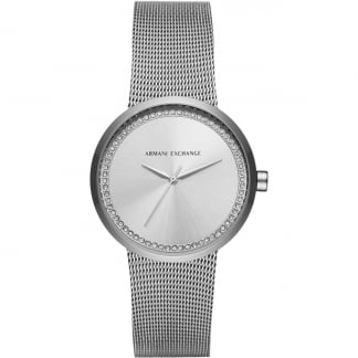 Ladies Stone Set Mesh Bracelet Watch