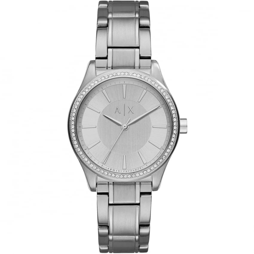 Armani Exchange Ladies Stone Set Silver Tone Watch AX5440