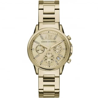 Ladies Swarovski Set Gold Tone Chronograph Watch