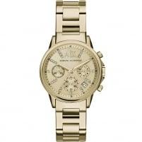 Armani Exchange Ladies Swarovski Set Gold Tone Chronograph Watch AX4327