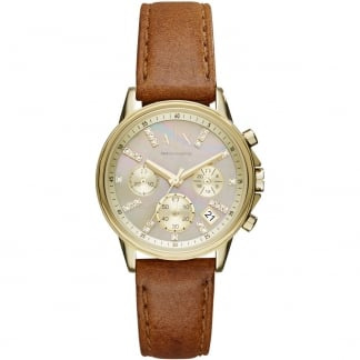 Ladies Swarovski Set MOP Brown Strap Chronograph Watch