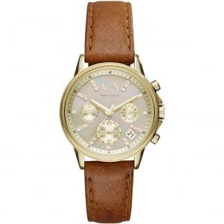 Ladies Swarovski Set MOP Brown Strap Chronograph Watch AX4334