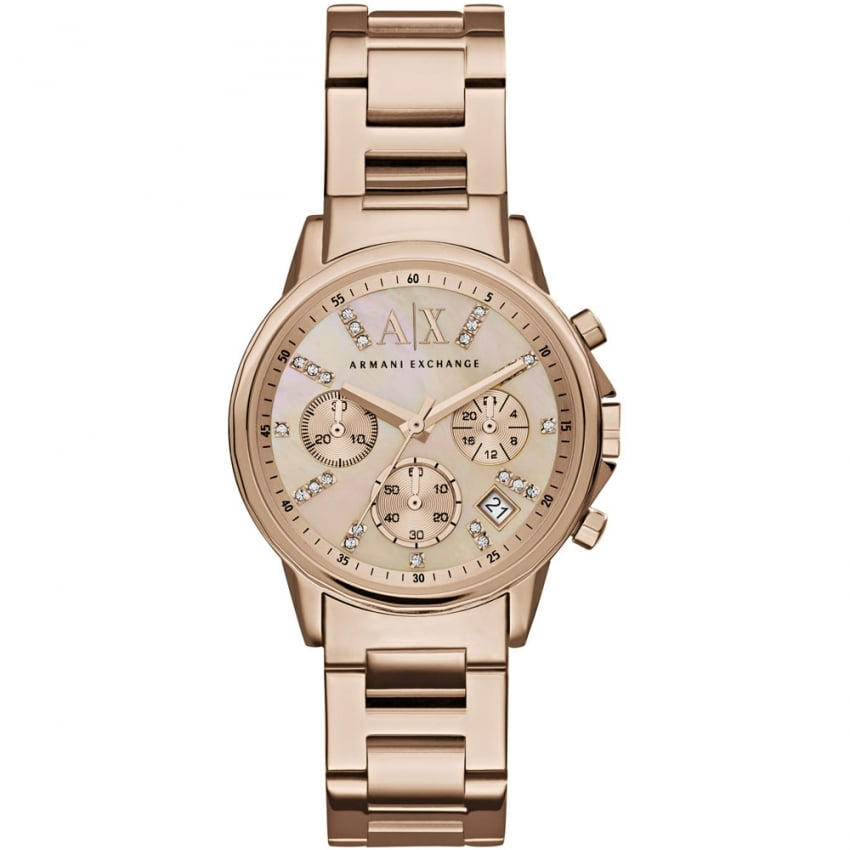 Armani Exchange Ladies Swarovski Set Rose Gold Chronograph Watch AX4326