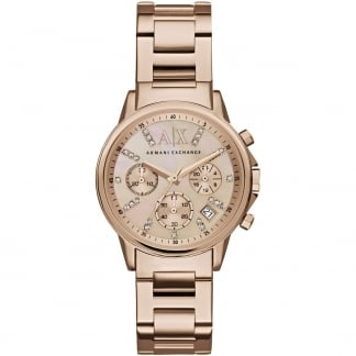 Ladies Swarovski Set Rose Gold Chronograph Watch