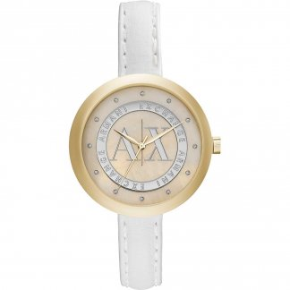 Ladies Swarovski Set White Leather Watch