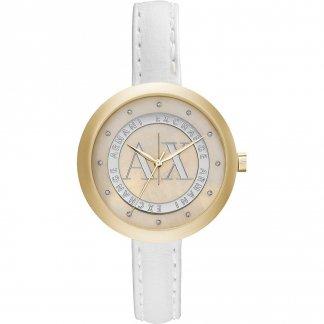 Ladies Swarovski Set White Leather Watch AX4227