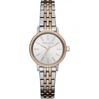 Ladies Two Tone Crystal Bezel Watch