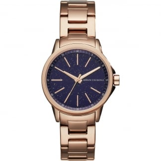 Men's Blue Glitter Dial Rose Bracelet Watch