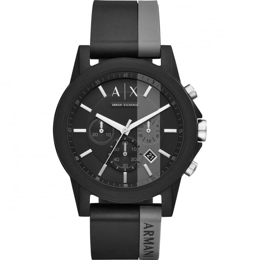 Men's Sporty Black/Grey Chronograph Watch AX1331