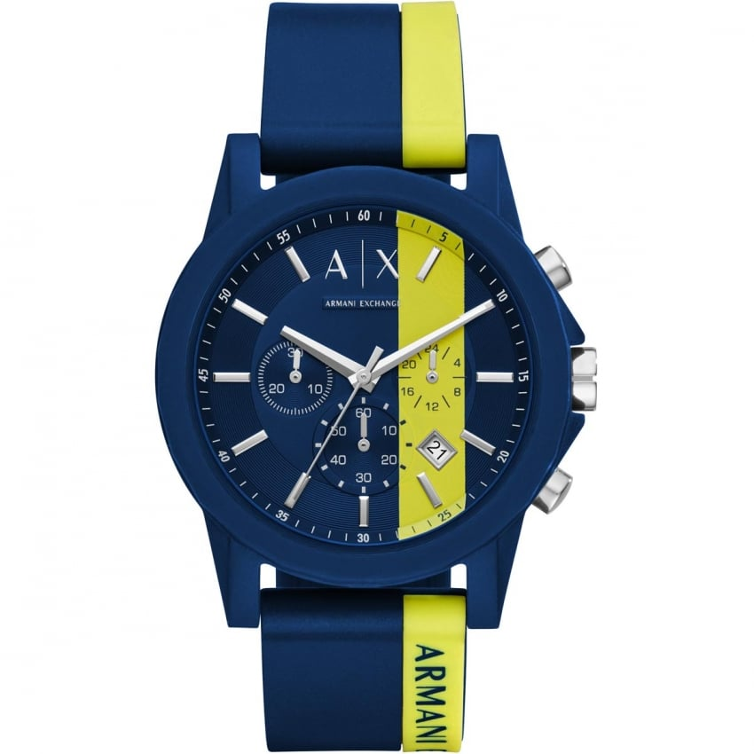 Men's Sporty Blue/Yellow Chronograph Watch AX1332