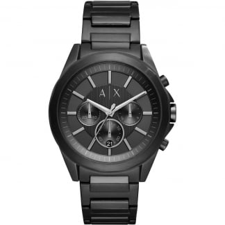 Men's Black Stainless Steel Chronograph Watch