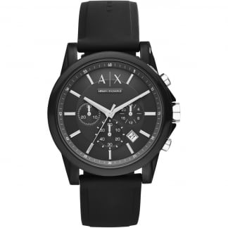 Men's Black Rubber Chronograph Watch AX1326