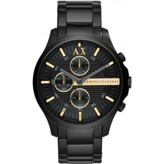 Men's Black Steel Chronograph Watch With Gold Accents
