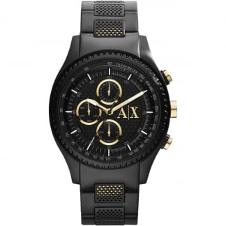 Men's Black PVD Stainless Steel Chronograph Watch AX1604