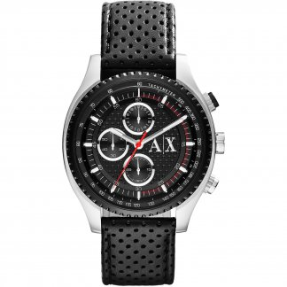 Men's Black Leather Chronograph Watch AX1600