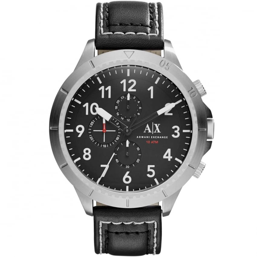 Armani Exchange Men's Black Leather Oversized Chronograph Watch AX1754