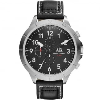 Men's Black Leather Oversized Chronograph Watch