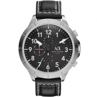 Men's Black Leather Oversized Chronograph Watch AX1754