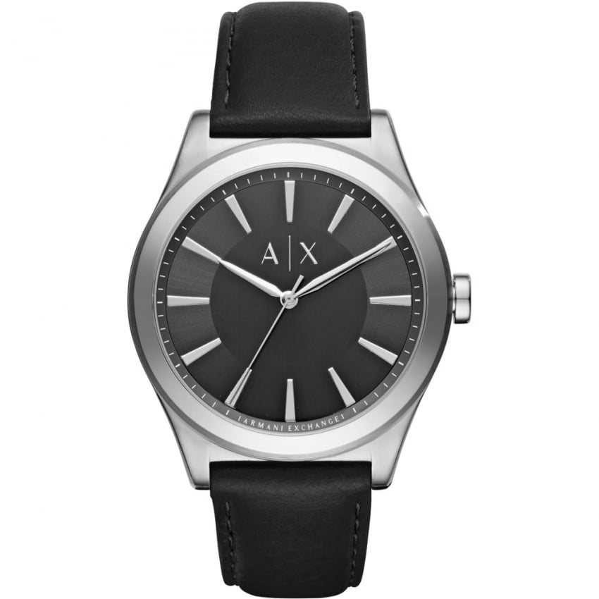 Armani Exchange Men's Black Leather Strap Watch AX2323