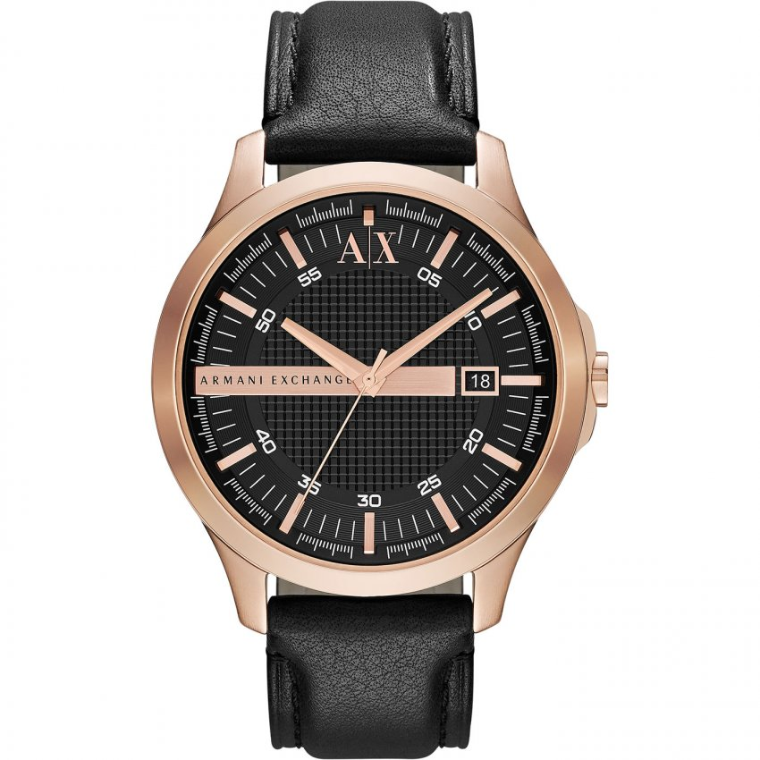 Armani Exchange Men's Black Leather Strap Watch AX2129
