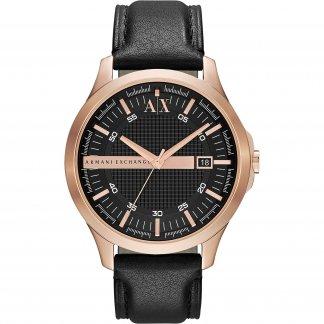 Men's Black Leather Strap Watch