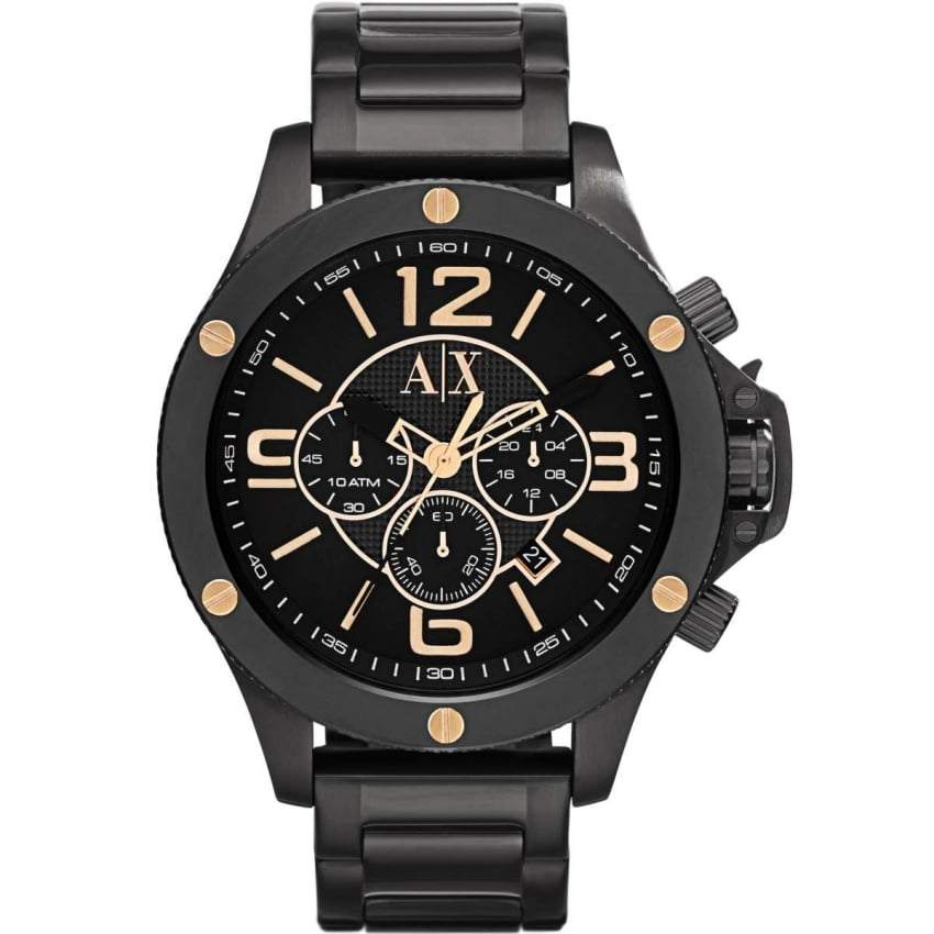 Armani Exchange Men's Black & Rose Gold Chronograph Watch AX1513