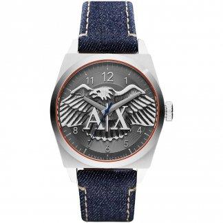 Men's Blue Denim Eagle Motif Dial Watch