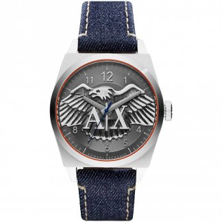 Men's Blue Denim Eagle Motif Dial Watch AX2307