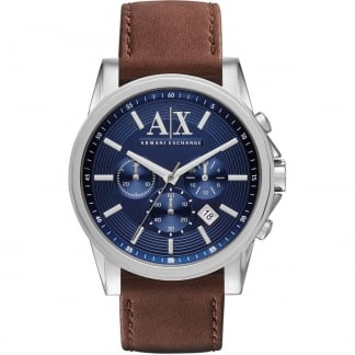 Men's Blue Dial Brown Strap Chronograph Watch AX2501