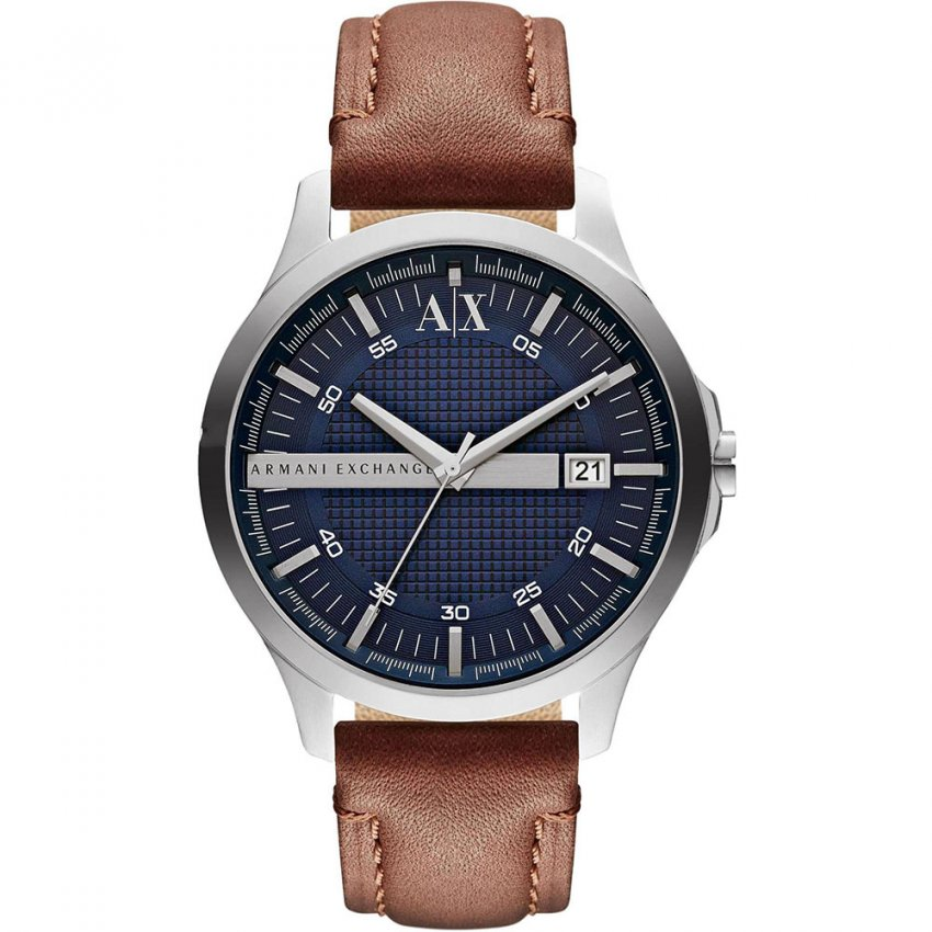 Armani Exchange Men's Blue Dial Brown Strap Watch AX2133