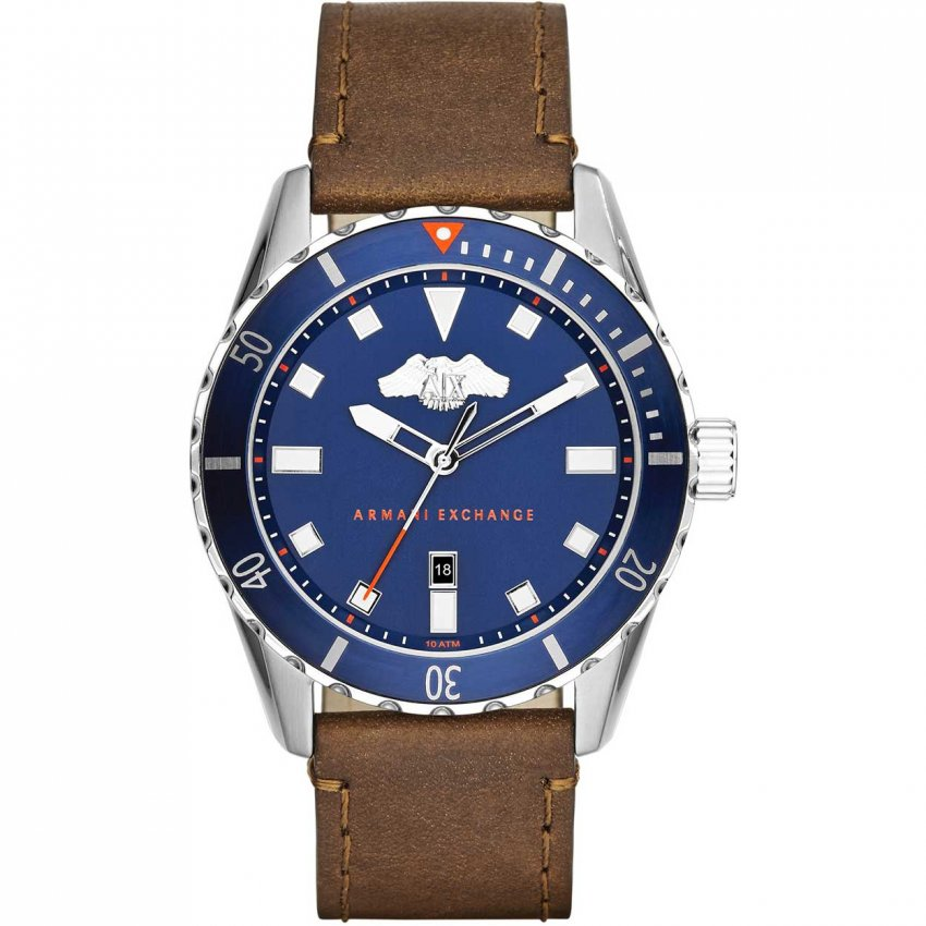 Armani Exchange Men's Blue Dial Leather Strap Watch AX1706