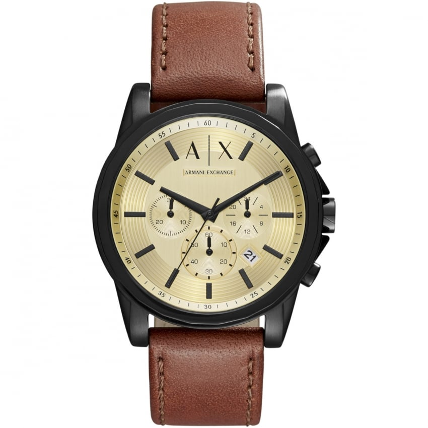 Armani Exchange Men's Brown Leather Chronograph Watch AX2511