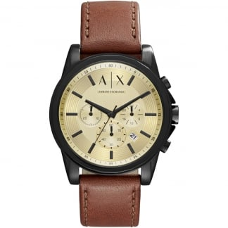 Men's Brown Leather Chronograph Watch