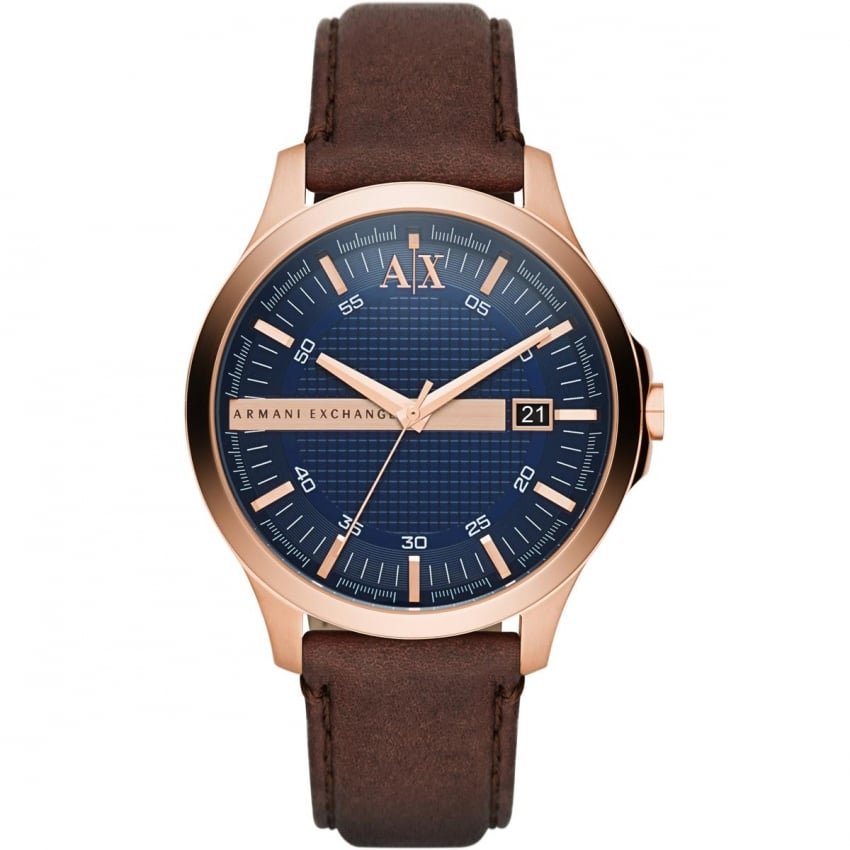 Men's Brown Leather Rose Tone Watch With Blue Dial AX2172