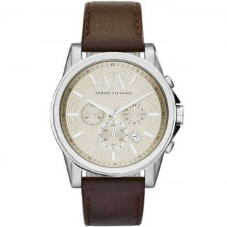 Men's Brown Strap Chronograph Watch