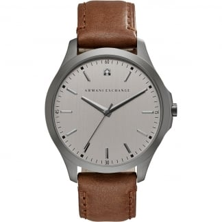 Men's Diamond Accent Brown Leather Gunmetal Watch