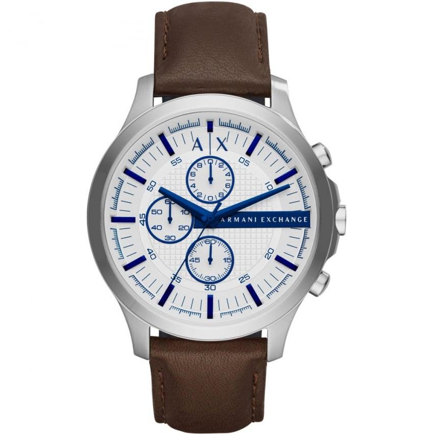 Armani Exchange Men's Brown Strap White Dial Chronograph Watch AX2190