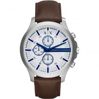 Men's Brown Strap White Dial Chronograph Watch