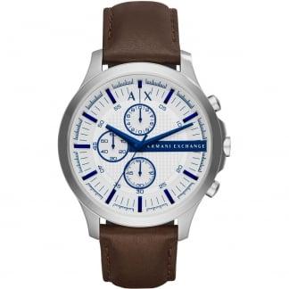Men's Brown Strap White Dial Chronograph Watch AX2190