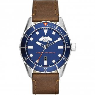 Men's Blue Dial Leather Strap Watch AX1706