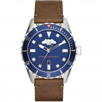 Armani Exchange Men's Blue Dial Leather Strap Watch AX1706