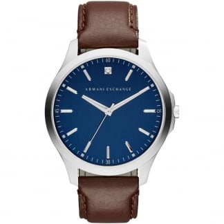 Men's Diamond Blue Dial Brown Strap Watch