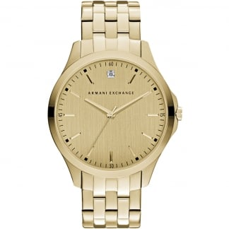 Men's Gold Plated Diamond Accent Watch