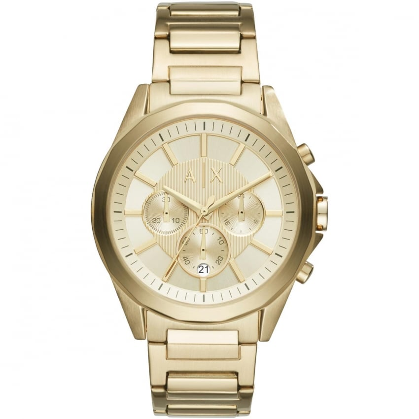 Armani Exchange Men's Gold Plated Chronograph Watch AX2602