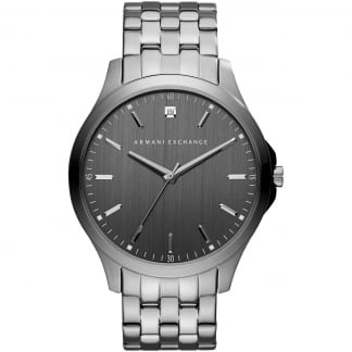 Men's Gunmetal Grey Diamond Set Watch