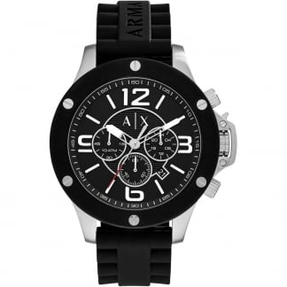 Men's Oversized Black Rubber Chronograph Watch