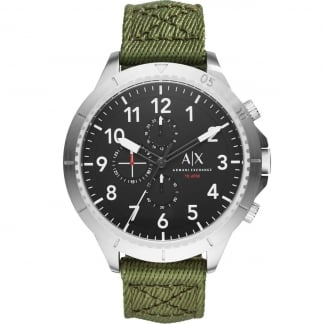 Men's Oversized Green Canvas Chronograph Watch