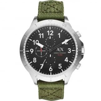 Men's Oversized Green Canvas Chronograph Watch AX1759