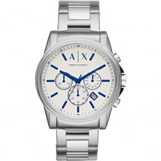 Men's Silver Tone Chronograph Watch