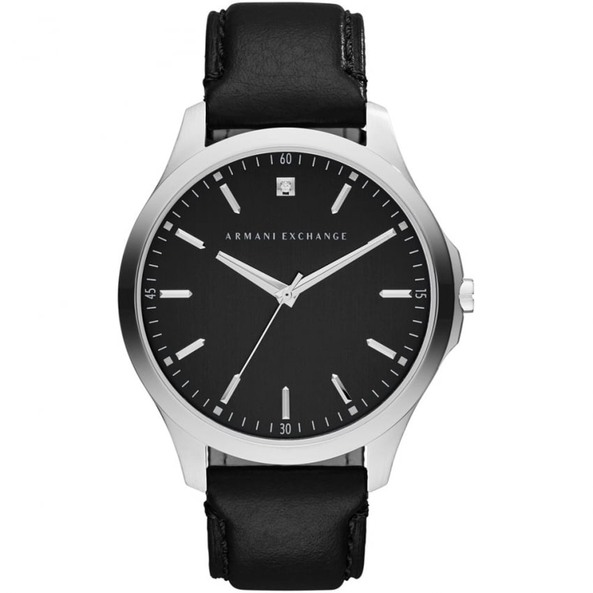 Armani Exchange Men's Single Diamond Black Leather Strap Watch AX2182